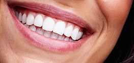 Closeup of smile with healthy teeth and gums